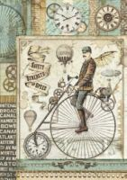 Stamperia A4 Rice paper packed Voyages Fantastiques retro bicycle