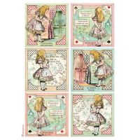 Stamperia A4 Rice paper packed Alice cards