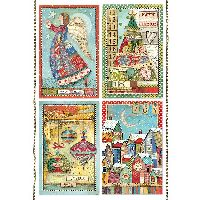 Stamperia A4 Rice paper packed Patchwork postcards