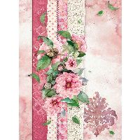 Stamperia A4 Rice paper packed Flowers for you pink