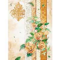 Stamperia A4 Rice paper packed Flowers for you ocher