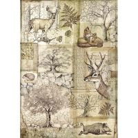 Stamperia A4 Rice paper packed Deer and wild boar