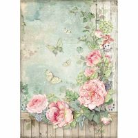 Stamperia A4 Rice paper packed Roses garden with fence