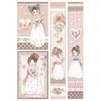 Stamperia A4 Rice paper packed Little Girl Frames