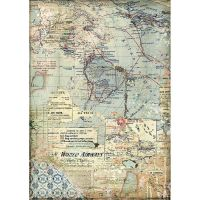 Stamperia A4 Rice paper packed Maps