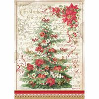 Stamperia A4 Decoupage Rice paper packed Christmas Greetings tree