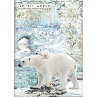 Stamperia A4 Decoupage Rice paper packed Artic World polar bears