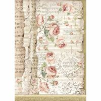 Stamperia A4 Decoupage Rice paper packed Roses and music