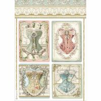 Stamperia A4 DecoupageRice paper packed Corsets