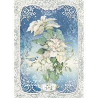 Stamperia A4 Decoupage Rice paper packed Poinsettia