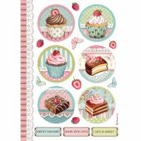 Stamperia A4 Decoupage Rice paper packed Round mini cakes