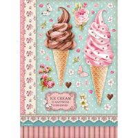 Stamperia A4 Decoupage Rice paper packed Ice cream