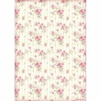 Stamperia A4 Decoupage Rice paper packed Rose wallpaper