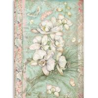 Stamperia A4 Rice paper packed White orchid