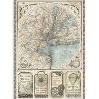 Stamperia A4 Rice paper packed Sir Vagabond map of New York
