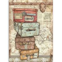 Stamperia A4 Rice paper packed Lady Vagabond luggage