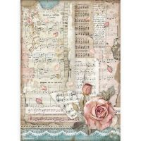 Stamperia A4 Rice paper packed - Passion roses and music