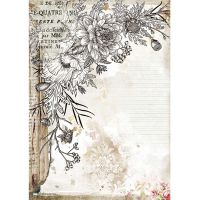 Stamperia A4 Rice paper packed - Romantic Journal stylized flower