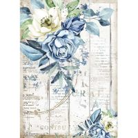 Stamperia A4 Rice paper packed - Romantic Sea Dream blue flower