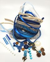 Graphic 45 Ocean Blue coordinating Fibers and Embellishments selected by FotoBella