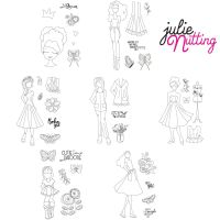 Prima Marketing Julie Nutting Bundle Winter 2020 Release NEW Mixed Media Doll Stamps (7 stamps sets - Becky, Kelly, Clarissa, Fiona, Ivy, Phoebe, Willow)