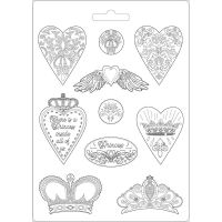 Stamperia Soft Mould A4 size Hearts and crowns