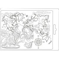 Stamperia Soft Mould A5 size Map of the world