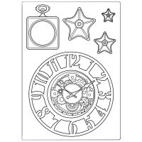 Stamperia Silicone mould A5 Sir Vagabond clocks and stars