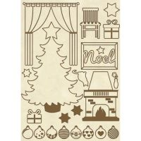 Stamperia Wooden frame A5 size Christmas Home