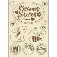 Stamperia Wooden shape f.to A6 - Seamos Felices