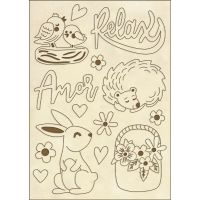 Stamperia Wooden shape f.to A6 - Amore Rabbit