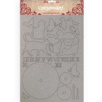 Stamperia A4 Greyboard /1 mm Cats and clock