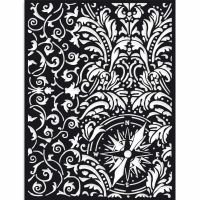 Stamperia Thick Stencil cm 15X20 Sir Vagabond wallpaper and compass