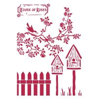 Stamperia Stencil G cm. 21x29,7 Nests House of Roses