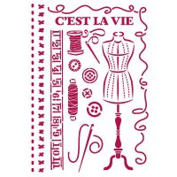 Stamperia Stencil G 21x29,7 cm - Romantic Threads couture