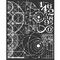 Stamperia Thick stencil 20x25 cm Cosmos astronomy and numbers