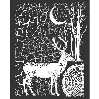 Stamperia Thick stencil 20x25 cm Cosmos deer and bark