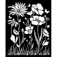 Stamperia Thick Stencil 20x25 cm - Atelier poppy and flower