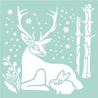 Stamperia Thick Stencil cm. 18X18 Reindeer and Rabbit