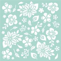 Stamperia Thick Stencil cm. 18x18 Flowers and Leaves