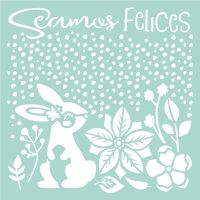 Stamperia Thick Stencil cm. 18X18 Seamos Felices Rabbit