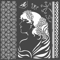 Stamperia Thick stencil cm. 18X18 Lady side