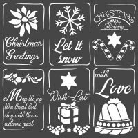 Stamperia Thick stencil cm. 18X18 Christmas tags