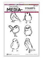 Ranger Dina Wakley Media Cling Stamps - Scribbly Small Birdies