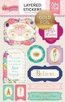 Echo Park Once Upon A Time-Princess Layered Stickers -Foil