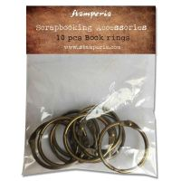 Stamperia Conf. 10 book rings diam 3 burnished