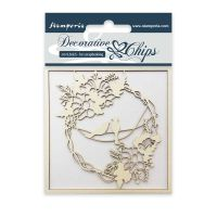 Stamperia Decorative chips cm. 9,5x9,5 Garland with birds