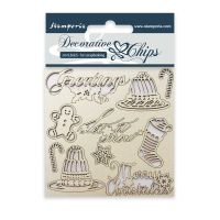 Stamperia Decorative chips cm. 9,5x9,5 Classic Christmas