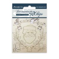 Stamperia Decorative chips cm. 9,5x9,5 Santa Claus