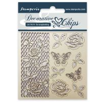 Stamperia Decorative chips cm. 14x14 Rose and butterfly